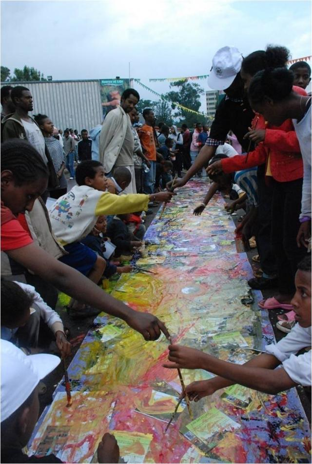 Public art workshop organized by Netsa Art village at Addis Ababa Exhibition Center